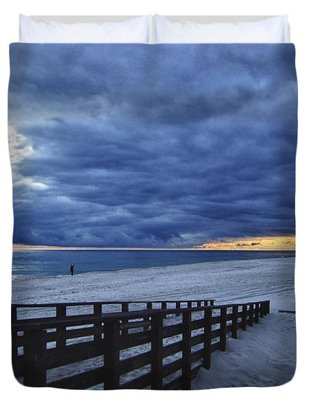 Sunset Boardwalk Duvet Cover by Michael Thomas