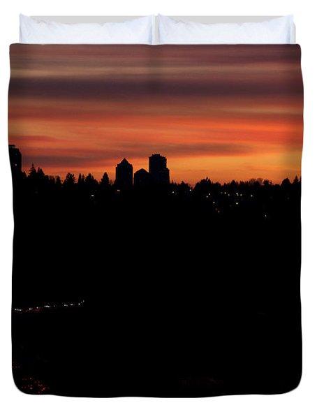 Sunset Commuters Duvet Cover by Lisa Knechtel