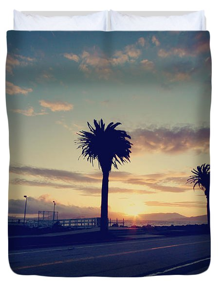 Sunset Drive Duvet Cover by Laurie Search