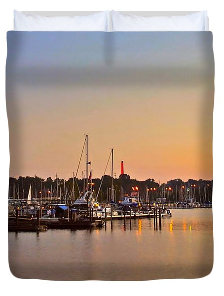 Sunset Fishing Duvet Cover by Frozen in Time Fine Art Photography