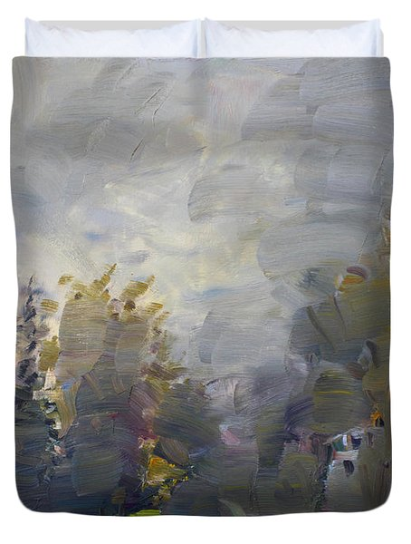 Sunset in a Foggy Fall Day Duvet Cover by Ylli Haruni