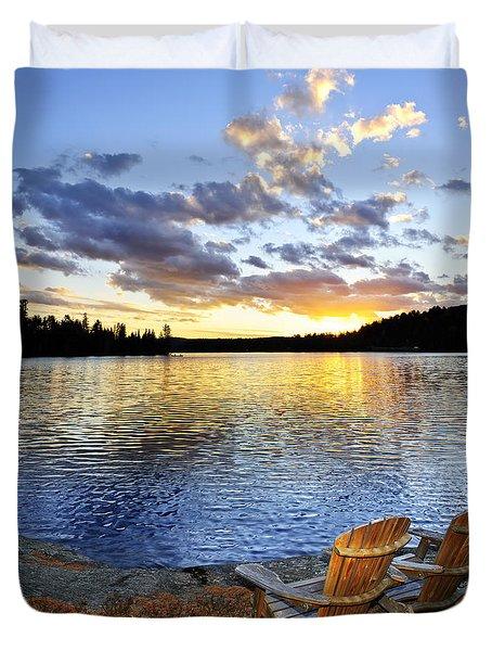 Sunset in Algonquin Park Duvet Cover by Elena Elisseeva