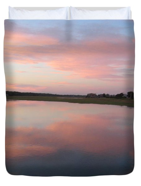 Sunset In Pink And Blue Duvet Cover by Melissa McCrann