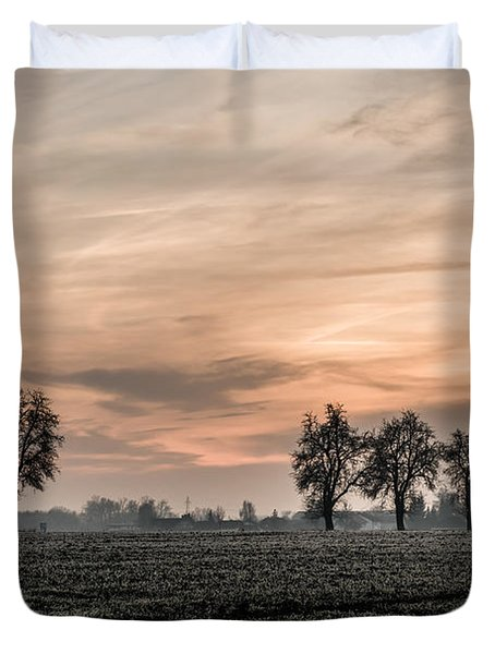 Sunset In The Country - Orange Duvet Cover by Hannes Cmarits