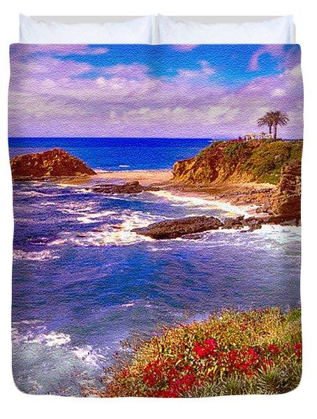 Sunset Laguna Beach California Duvet Cover by Bob and Nadine Johnston