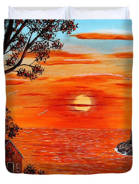 Sunset Lighthouse Duvet Cover by Barbara Griffin