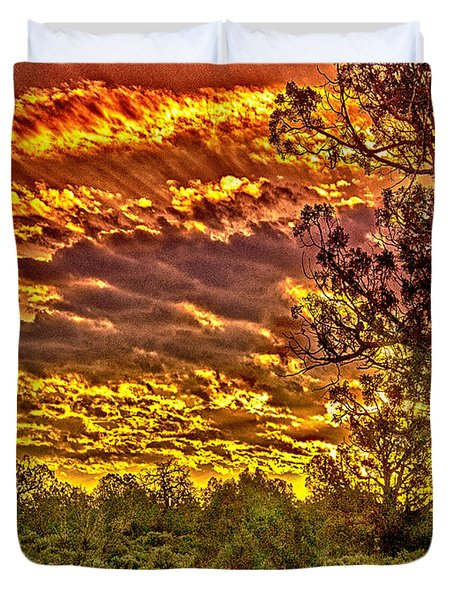 Sunset Navajo Tribal Park Canyon De Chelly Duvet Cover by Bob and Nadine Johnston