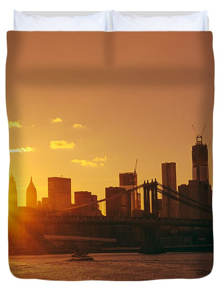 Sunset - New York City Duvet Cover by Vivienne Gucwa
