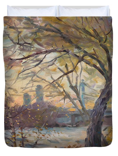 Sunset On Niagara River  Duvet Cover by Ylli Haruni