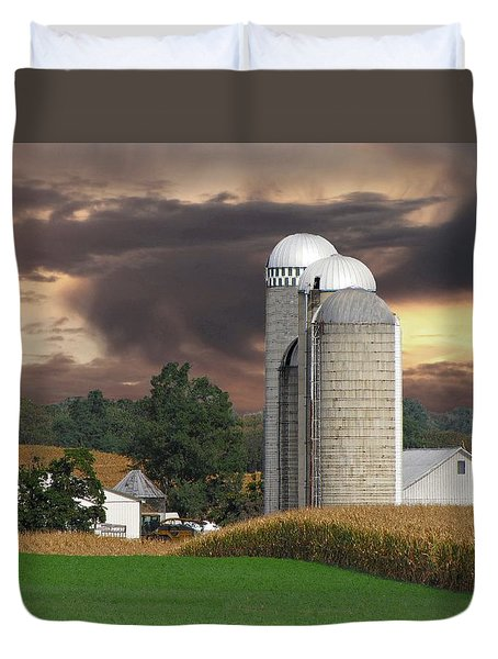 Sunset On The Farm Duvet Cover by David Dehner