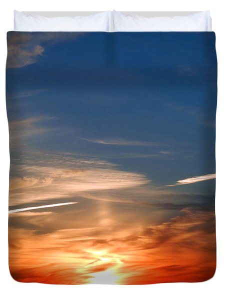 Sunset On The Gulf Of Mexico Duvet Cover by Debra Martz