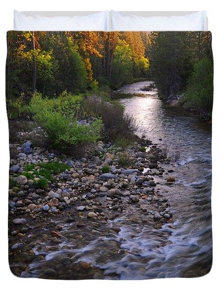 Sunset On The Merced Duvet Cover by Lynn Bauer