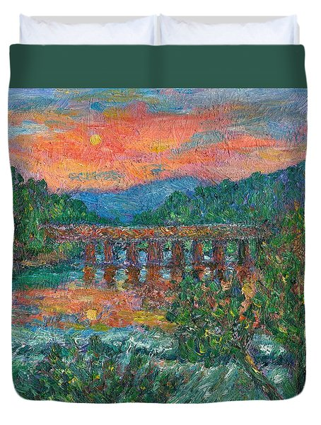Sunset On The New River Duvet Cover by Kendall Kessler