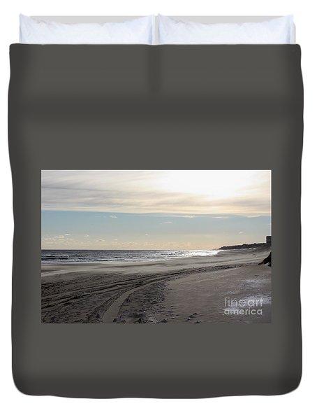 Sunset over Atlantic Ocean in Montauk Duvet Cover by JOHN TELFER