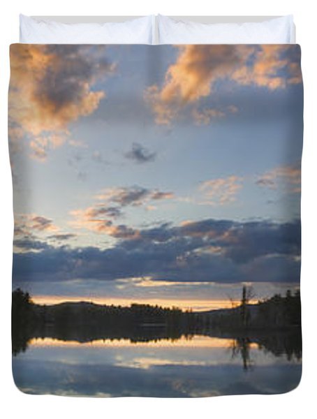 Sunset Over Flying Pond in Vienna Maine Duvet Cover by Keith Webber Jr