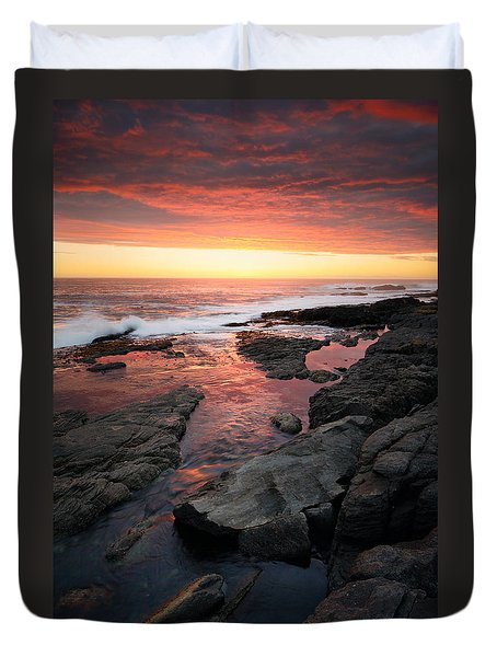 Sunset over rocky coastline Duvet Cover by Johan Swanepoel