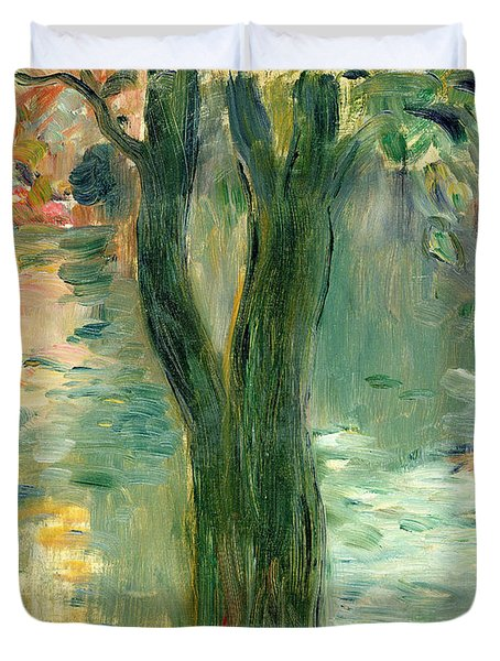 Sunset Over The Lake Bois De Boulogne Duvet Cover by Berthe Morisot