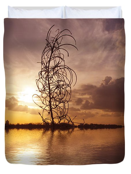 Sunset Over The Lake Duvet Cover by David French