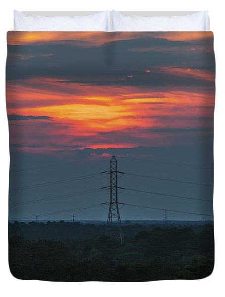 Sunset Power Over Pine Barrens NJ Duvet Cover by Terry DeLuco