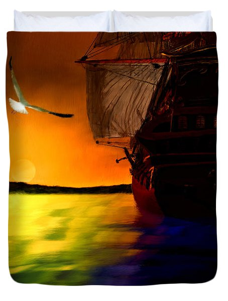 Sunset Sails Duvet Cover by Lourry Legarde