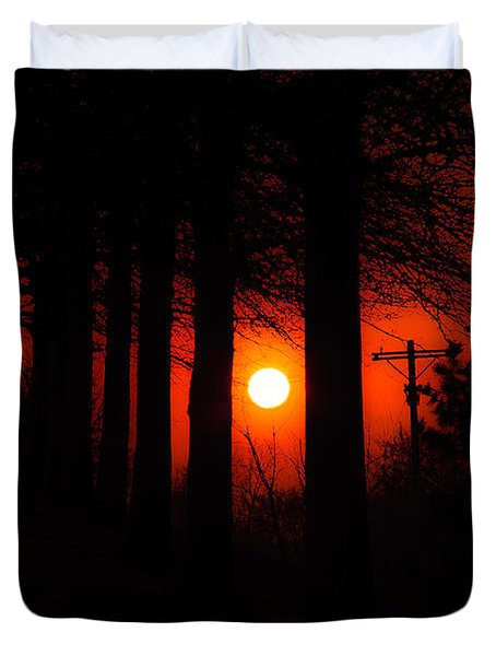 Sunset Silhouette Painterly Duvet Cover by Andee Design
