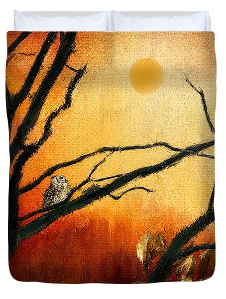 Sunset Sitting Duvet Cover by Lourry Legarde
