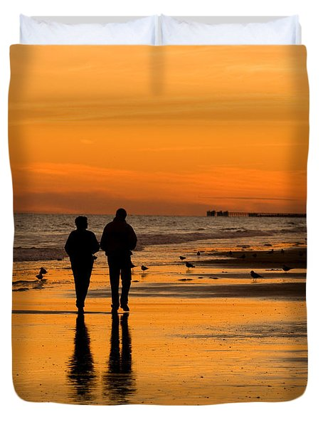 Sunset Stroll Duvet Cover by Al Powell Photography USA