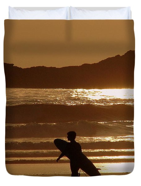 Sunset Surfer Duvet Cover by Ramona Johnston
