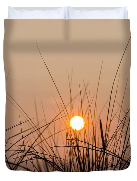 Sunset through the Grass - Villas New Jersey Duvet Cover by Bill Cannon