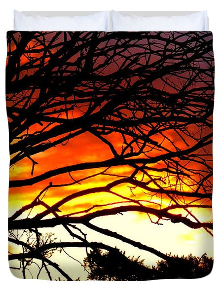 Sunset Tree Silhouette Duvet Cover by The Creative Minds Art and Photography
