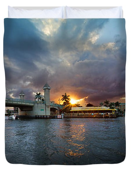 Sunset Waterway Panorama Duvet Cover by Debra and Dave Vanderlaan