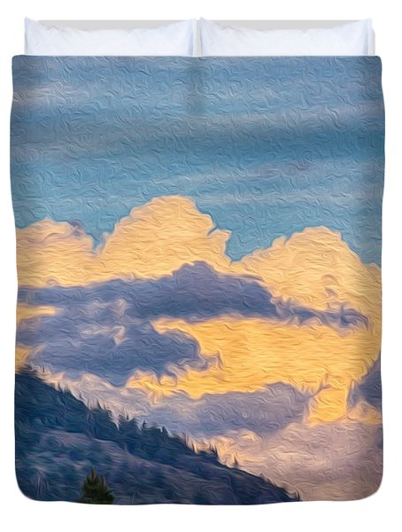 Sunset With A Smile Duvet Cover by Omaste Witkowski