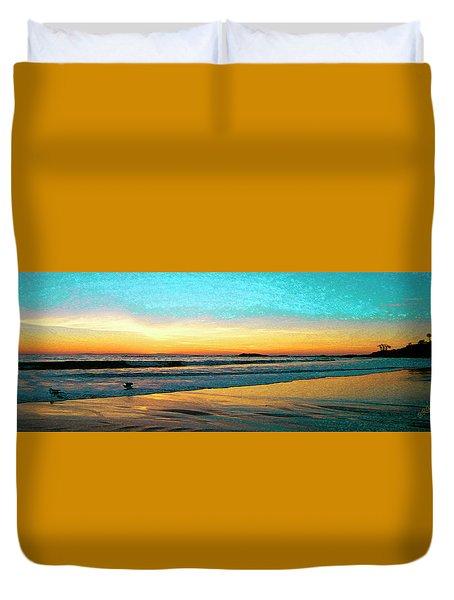 Sunset With Birds Duvet Cover by Ben and Raisa Gertsberg