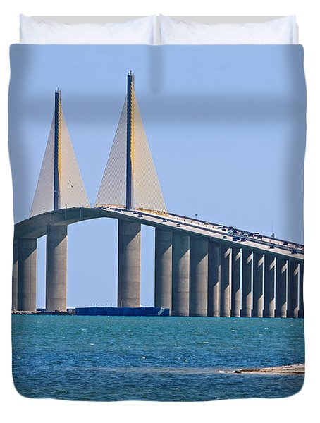 Sunshine Skyway Bridge Duvet Cover by Delmas Lehman