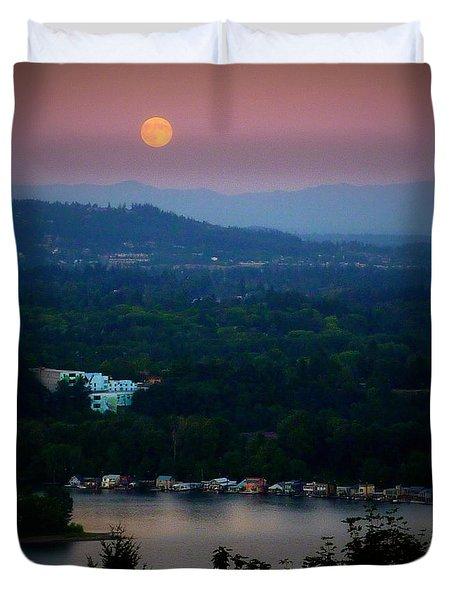 Super Moon River Duvet Cover by Susan Garren