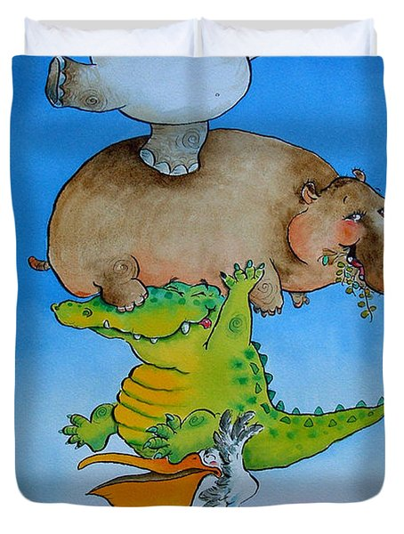Super Mouse Pen & Ink And Wc On Paper Duvet Cover by Maylee Christie