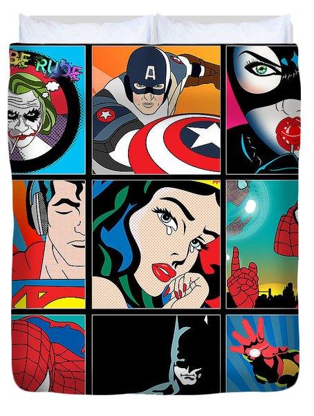 Superheroes Duvet Cover by Mark Ashkenazi