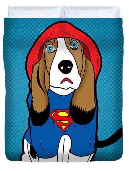 Superman Dog  Duvet Cover by Mark Ashkenazi