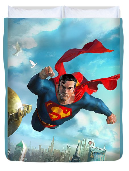 Superman Over Metropolis Duvet Cover by Ryan Barger