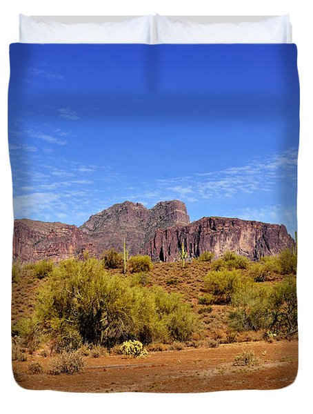 Superstition Mountains Arizona - Flat Iron Peak Duvet Cover by Christine Till
