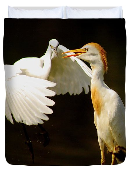 Suprised Cattle Egret Duvet Cover by Robert Frederick