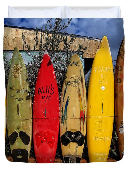 Surf Board Fence Maui Hawaii Duvet Cover by Edward Fielding