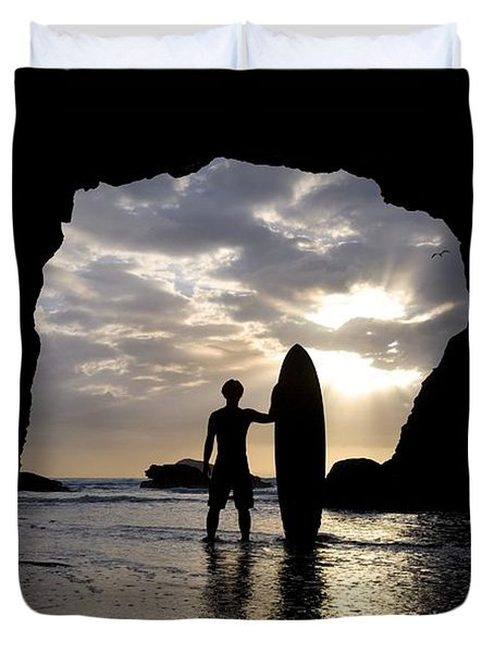 Surfer Inside A Cave At Muriwai New Duvet Cover by Deddeda