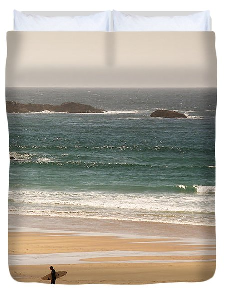 Surfers On Beach 01 Duvet Cover by Pixel Chimp