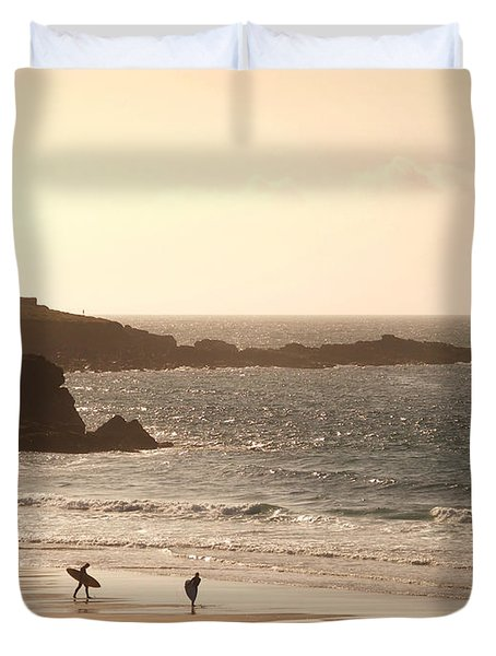Surfers on beach 03 Duvet Cover by Pixel Chimp