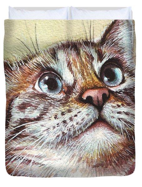 Surprised Kitty Duvet Cover by Olga Shvartsur