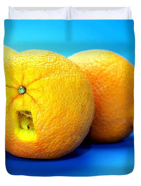 Surrender Mr. Oranges Little People On Food Duvet Cover by Paul Ge