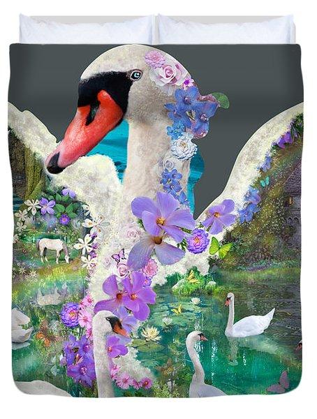 Swan Day Dream Duvet Cover by Alixandra Mullins