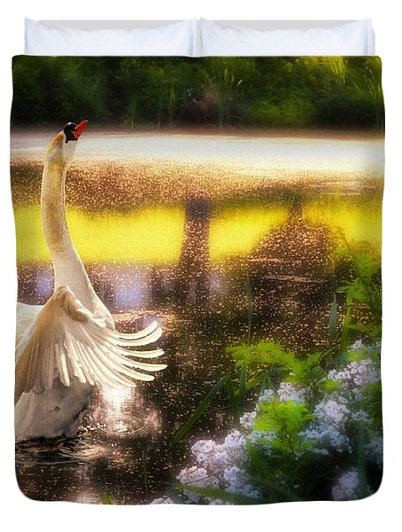Swan Lake Duvet Cover by Lois Bryan