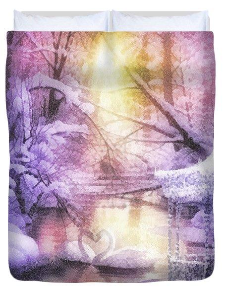 Swan Lake Duvet Cover by Mo T
